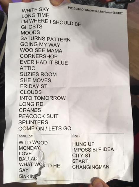 Liverpool set list 2