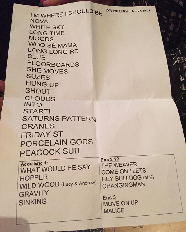 PW Wiltern Set list 2017